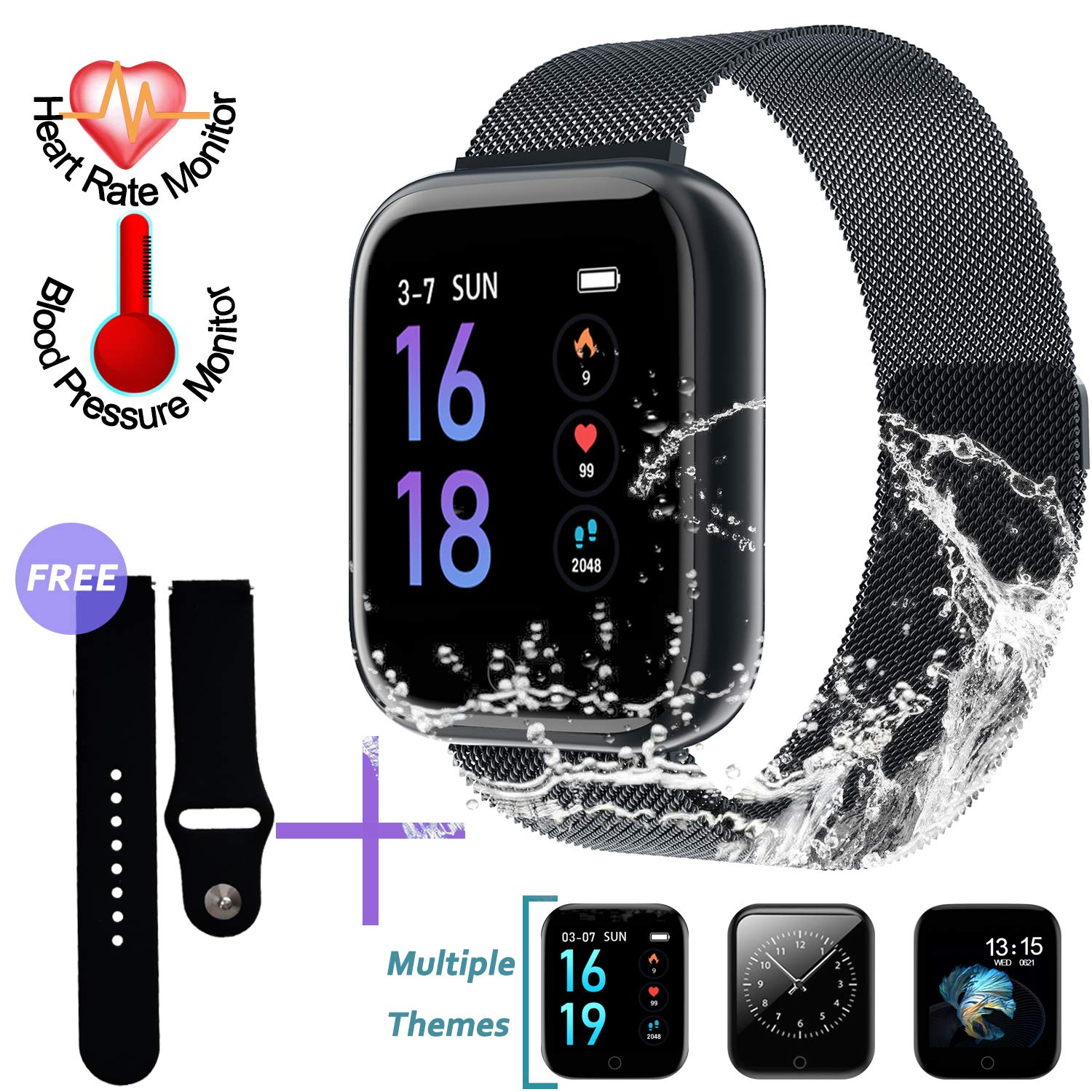 SZHAIYU Smart Watch Bracelet with Blood Pressure Heart Rate Monitor Pedometer Fitness Tracker Smartwatch for Android iOS (Black)