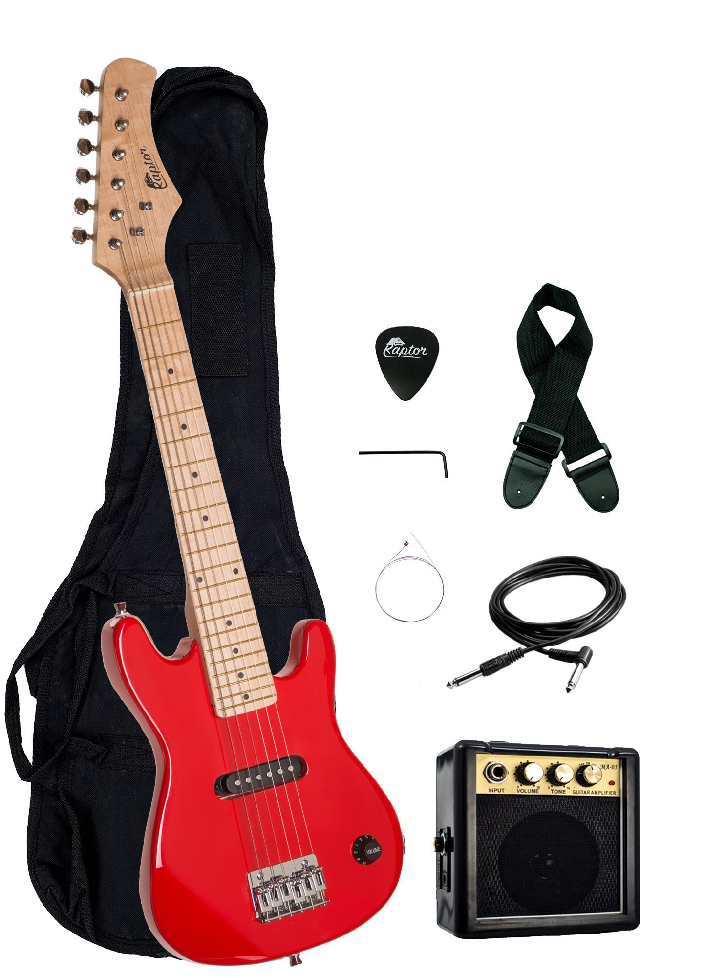 Raptor EP3-RD Kid's Starter Electric Guitar Package with Amp, Gig Bag, Strap, Cable and Pick, Red