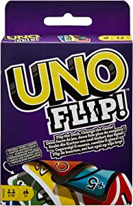 UNO FLIP Family Card Game, with 112 Cards in a Sturdy Storage Tin, Makes a Great  7 Year Olds and Up Family Card Game