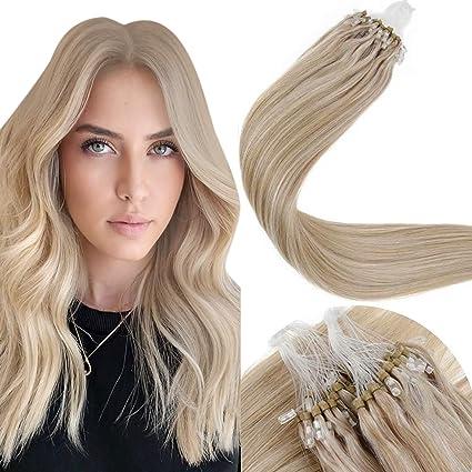 LaaVoo 20 Pulgadas Micro Loop Cabello Humano Extensiones #Rubio Cenizo Highlights Rubio Dorado Micro Ring Loop Hair Extensions 50g/50s Extensiones ...