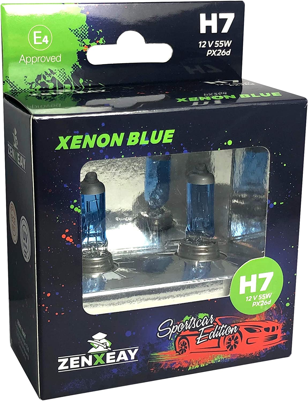 Zenxeay H7 Xenon Blue Sportscar Edition Halogen Leuchtmittel 12v 55w Xenon Optik Super White Birne 2 Stück Auto