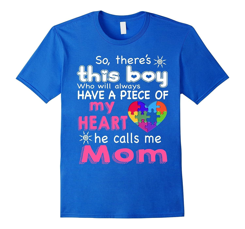 Autism Mom T-Shirt Piece Of My Heart Awareness Shirt-TH