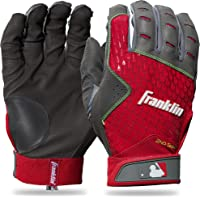 Franklin Sports 2nd-Skinz ® Guantes de bateo Gris/Rojo Adulto Mediano