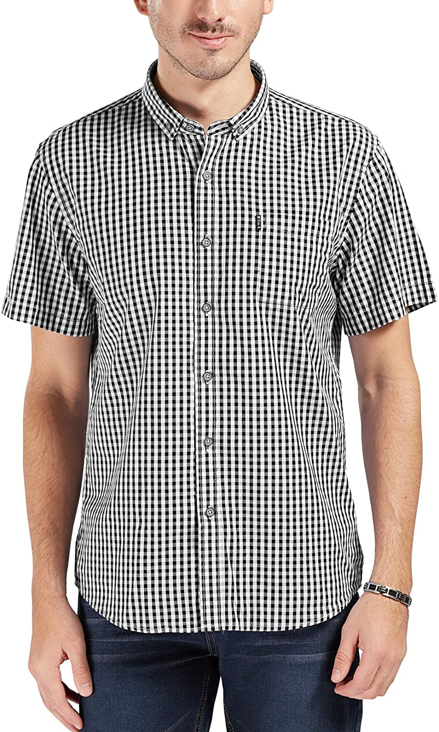 Trimthread Mens Simple Stylish Classic Fit Plaid Long Sleeve Button Up Casual Shirt