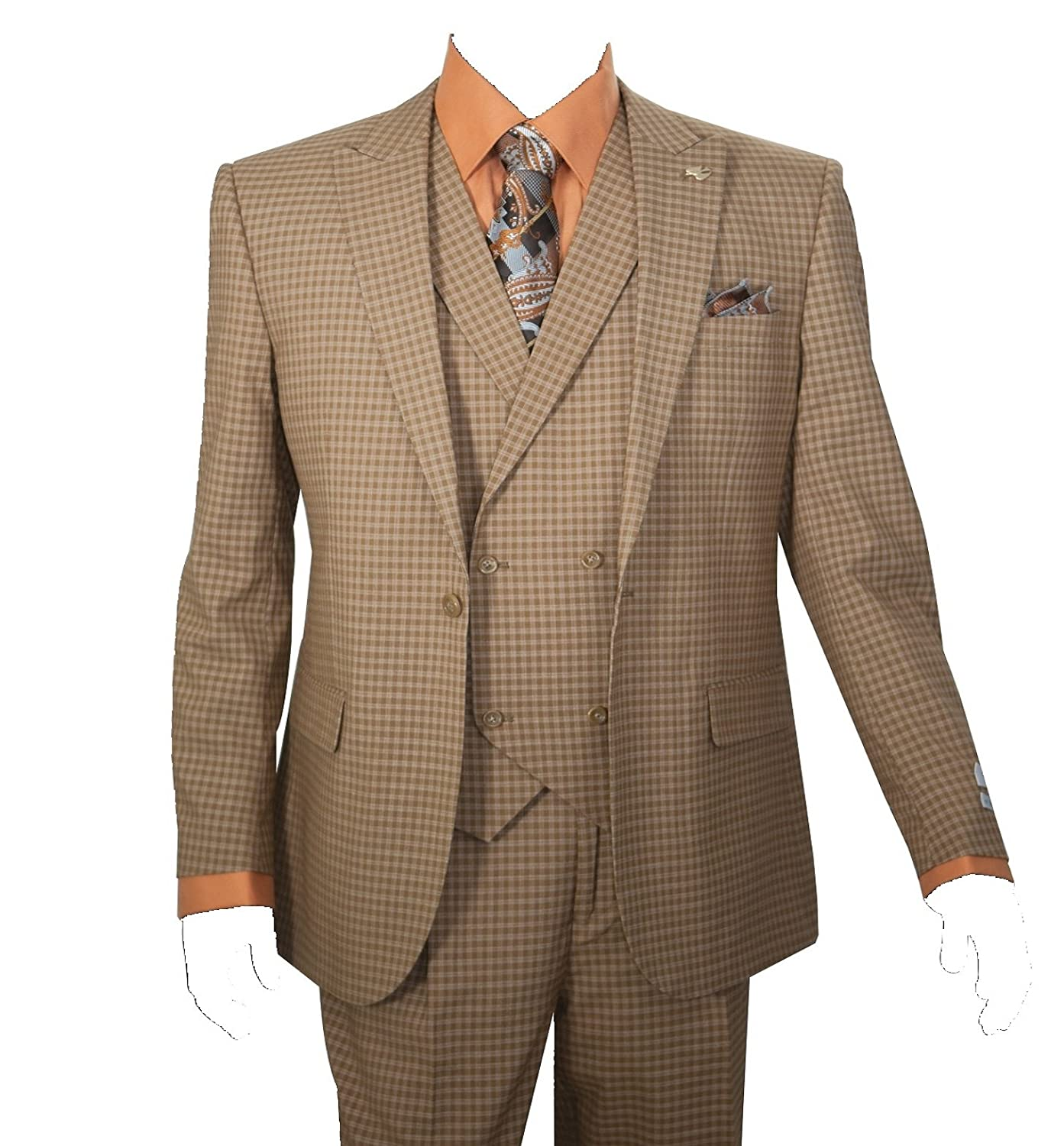 Mens 3 Piece Single Button Mini-Plaid Pattern Suit (Taupe) $149.99 AT vintagedancer.com