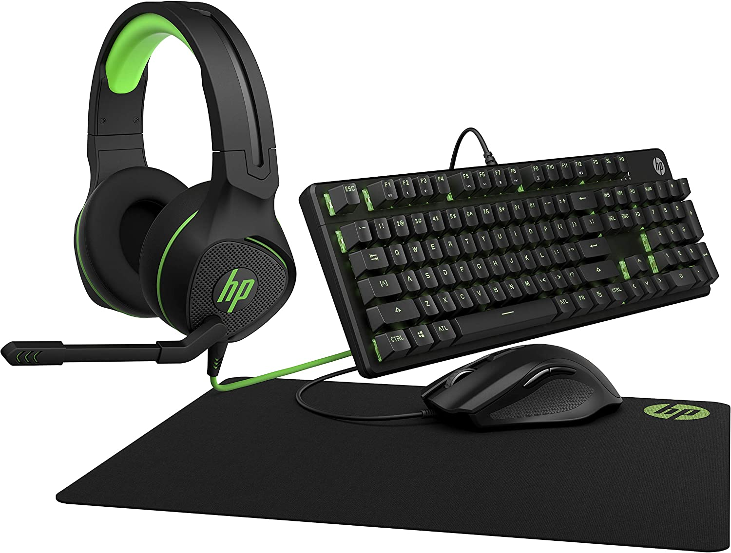 HP Gaming Bundle | Includes OMEN by HP Mouse 400, HP Pavilion Gaming Keyboard 500, HP Pavilion Gaming Headset 400, and HP Pavilion Gaming Mouse Pad 300 | Wired, RGB Lighting, 1-Yr Warranty, Black