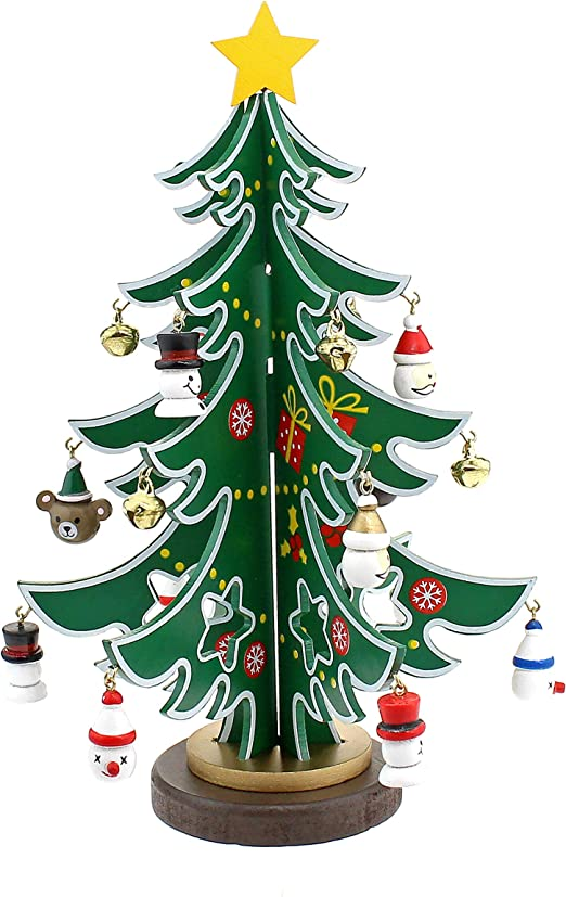 Árbol de Navidad de Madera con 25 Adornos De Madera En Miniatura Decoración