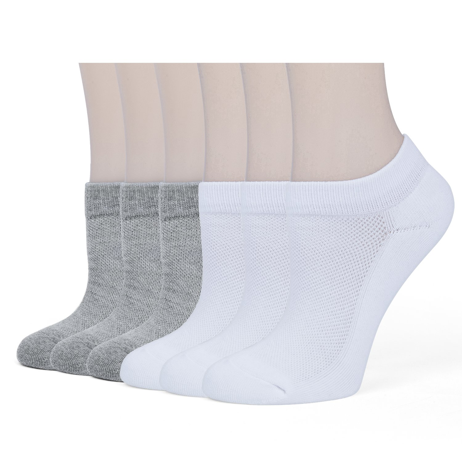 Women's Low Cut Socks Athletic Running Cushion Short Cotton Ankle Socks Low Cut Socks (6 Pairs) by Quoty