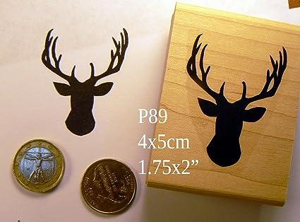 P89 Stag Antlers Deer Rubber Stamp