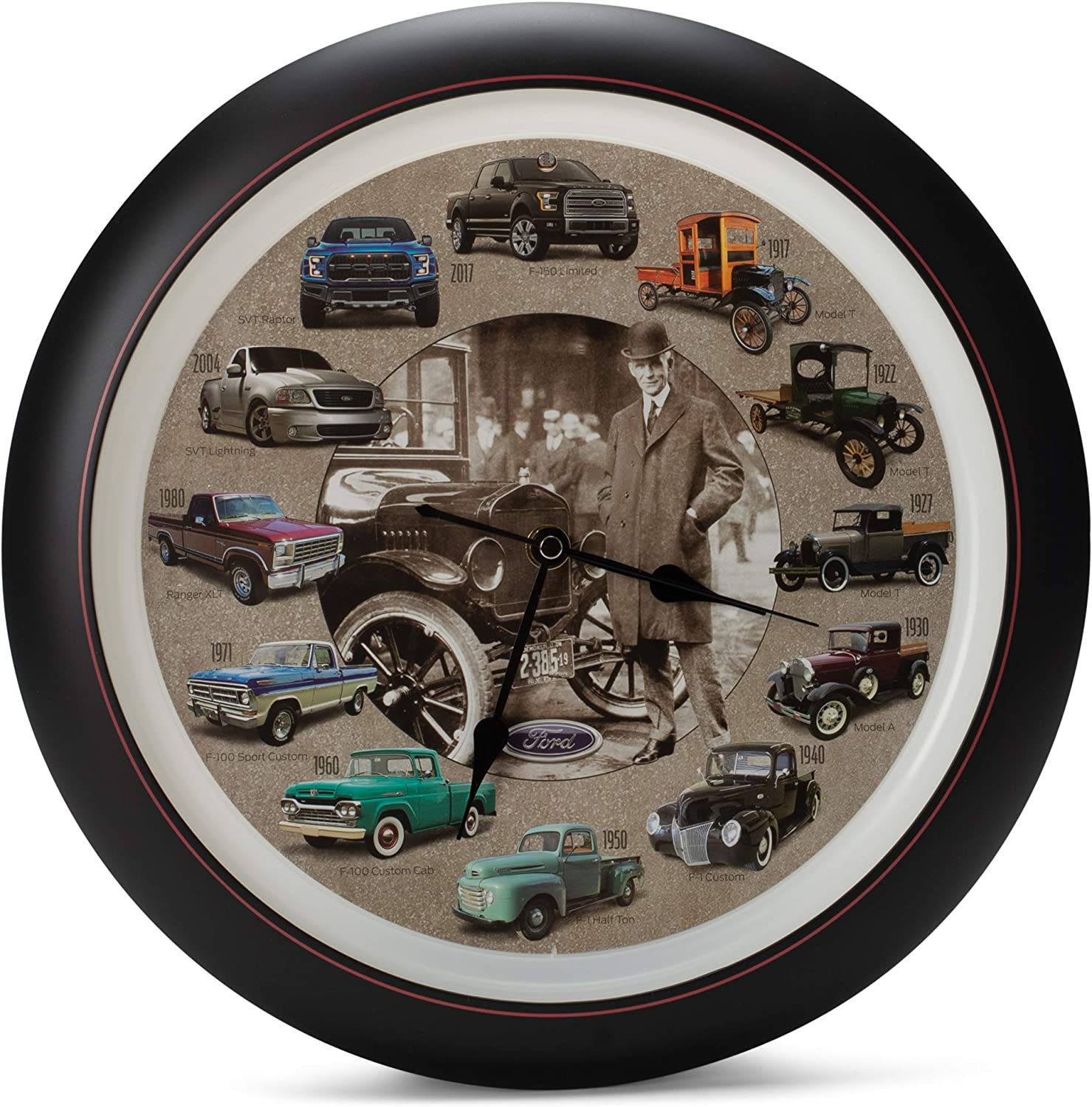 Mark Feldstein History of Ford Trucks Model T - F150 Sound Wall Clock, 13 Inch