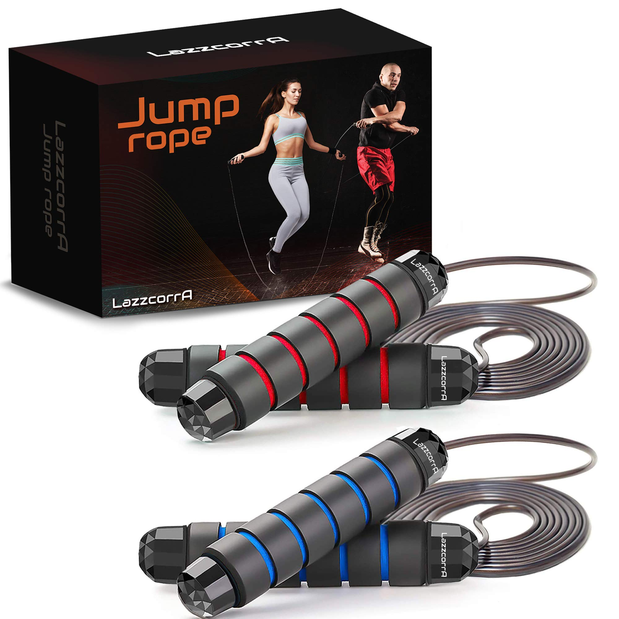 Jump rope, 2 Pack Speed Jumping Ropes for Workout, Fitness and Gym Exercise - Adjustable Skipping Rope Set for Kids and Adults ( Men and Women ) with Rapid Ball Bearing System and Memory Foam Handles