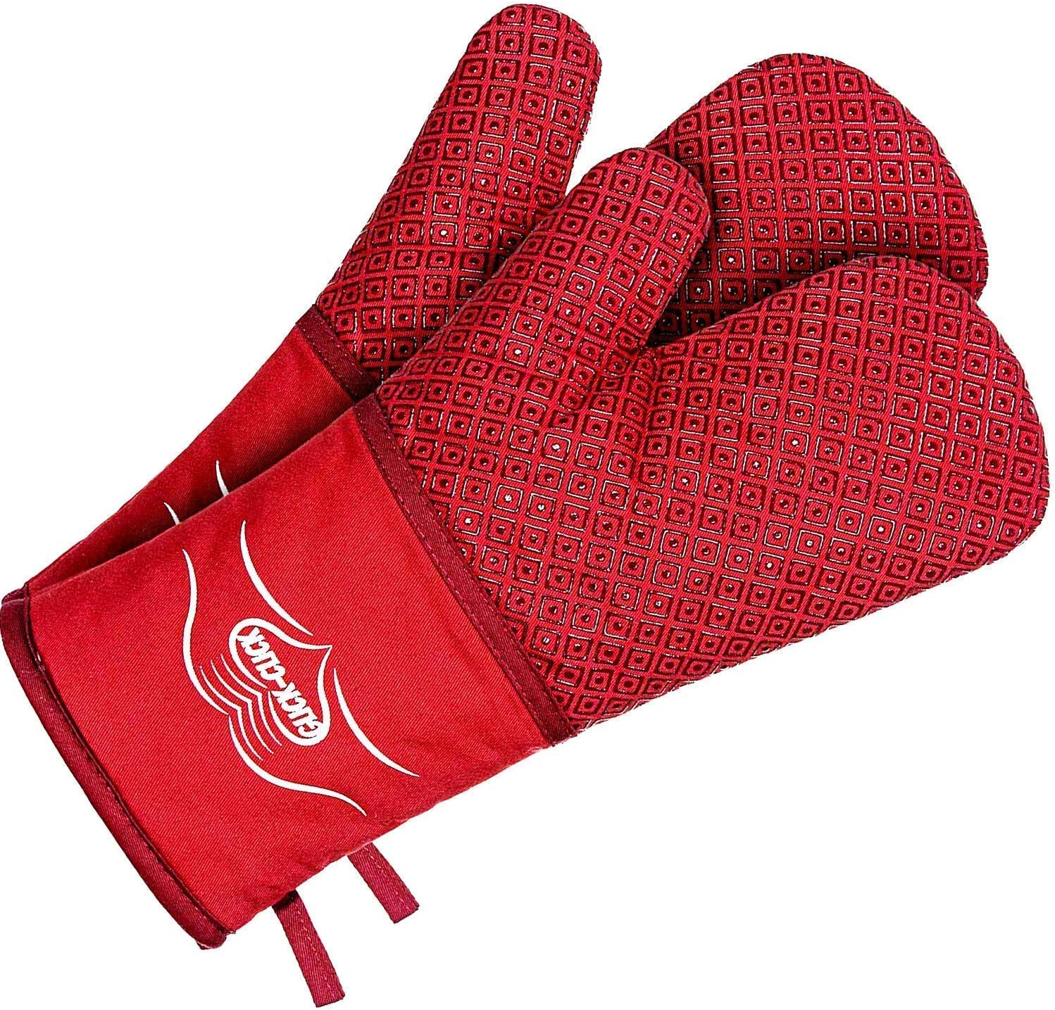 Red pot holders & Extra Long Oven Mitts Set. Heat resistant to 500 degrees. hot pads pair of gloves. Best for grill, BBQ, cook and bake. Great kitchen mittens, with a special silicone pot holder