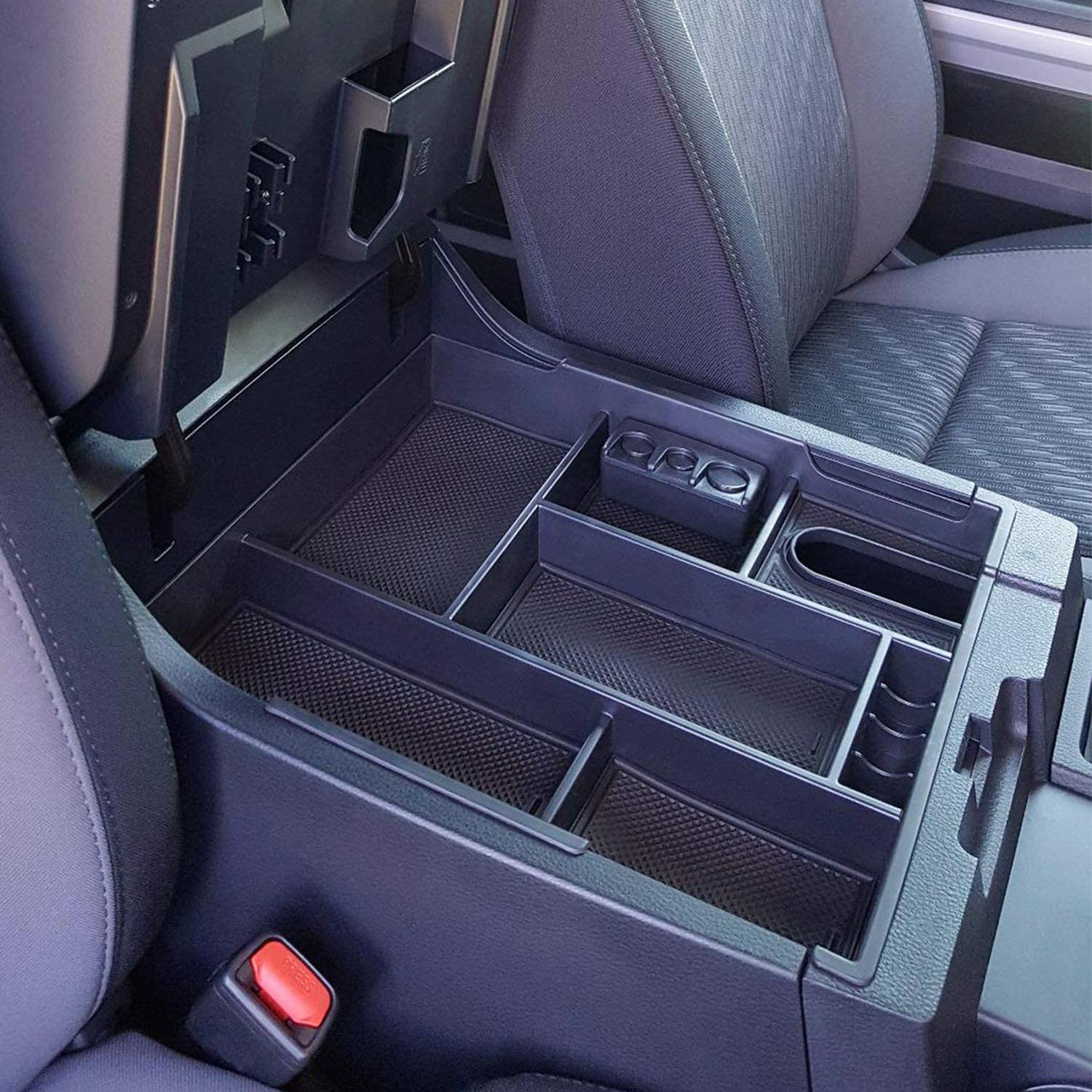JKCOVER Center Console Organizer Tray Compatible with Toyota Tundra 2014 2015 2016 2017 2018 2019 2020 Tundra Accessories,Insert ABS Black Materials Armrest Box Secondary Storage
