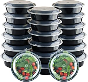 Galashield 20 Pack Round Meal Prep Containers with Lids Bento Box Food Containers Reusable (24 oz)