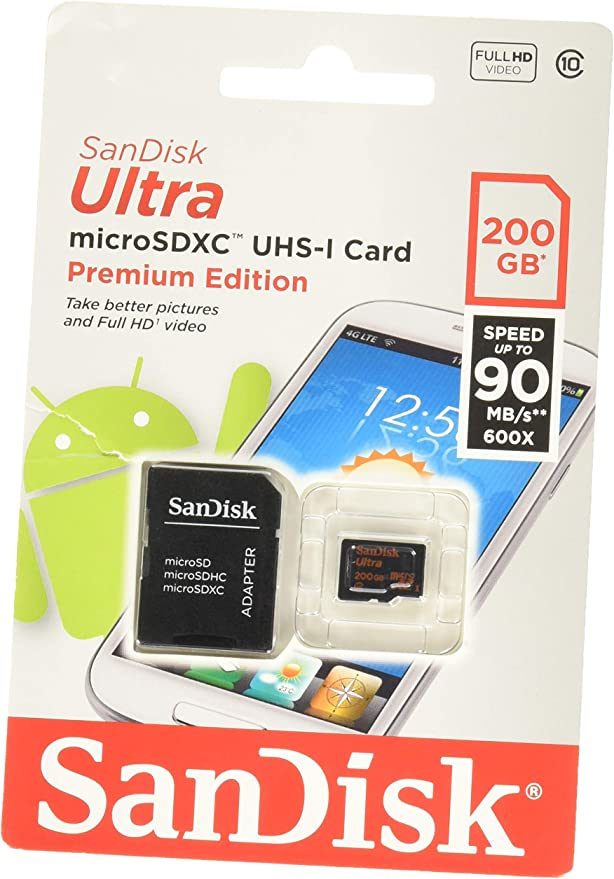 SanDisk Ultra 200GB MicroSDXC Verified for DJI Matrice 200 Series by SanFlash 100MBs A1 U1 C10 Works with SanDisk