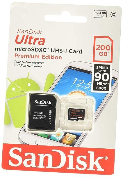 SanDisk Ultra - Tarjeta de memoria microSDHC UHS-I de 200 GB con adaptador SD, velocidad de lectura hasta 80 MB/s, Clase 10