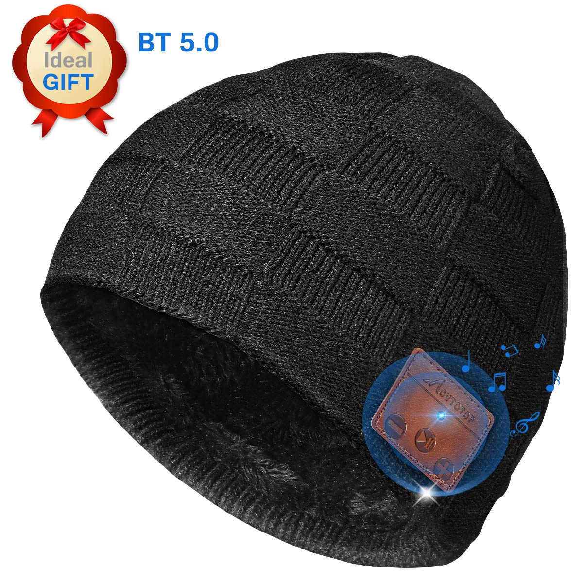 Knit Wireless Hat with Headphones Christmas Electronic Gifts for Men//Women MOVTOTOP Upgraded V5.0 Wireless Beanie Winter Music Bluetooth Hat Built-in Stereo Speaker /& Microphone