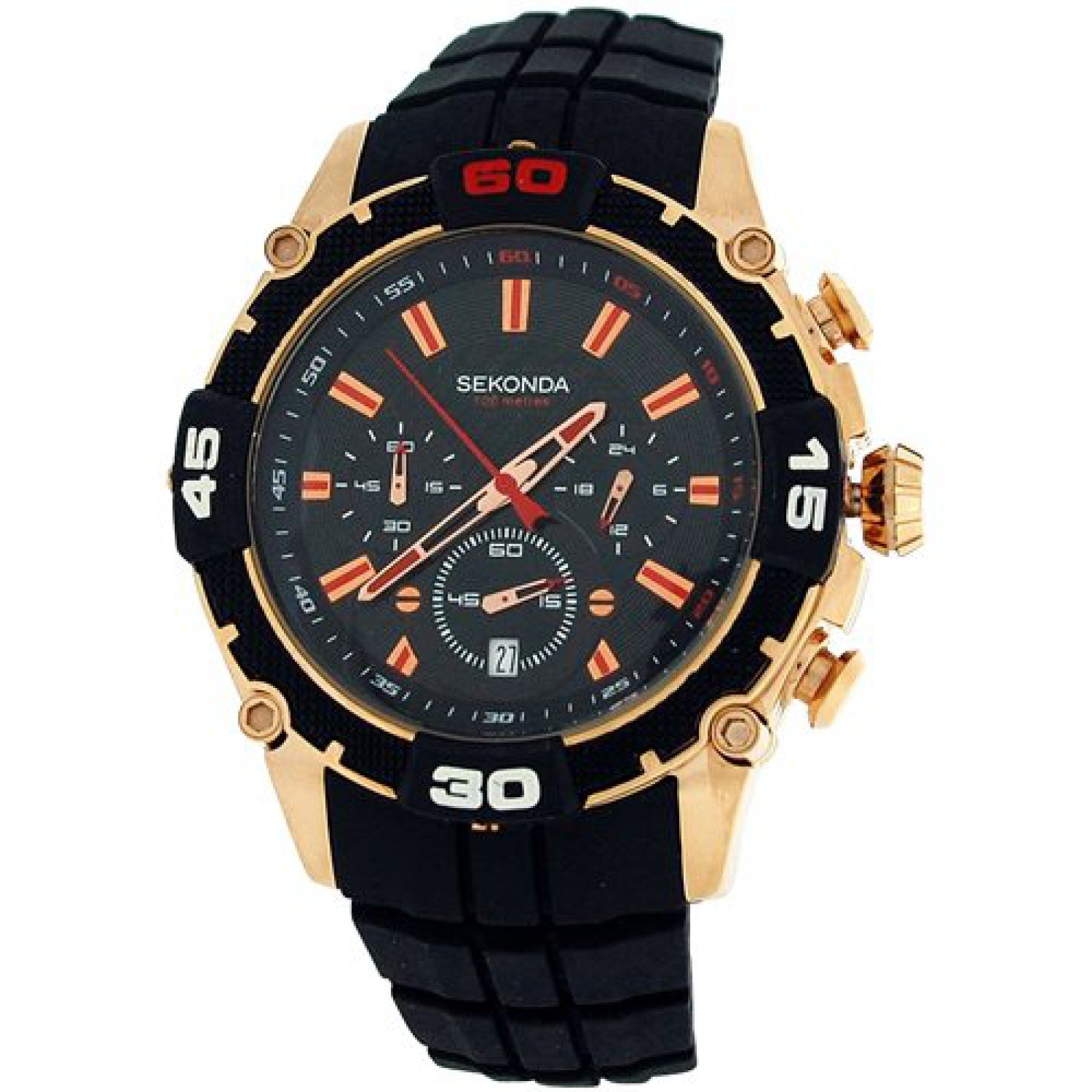 Sekonda Gents Analogue Date Chronograph Black Silicone Strap Sports Watch 3490 by Sekonda