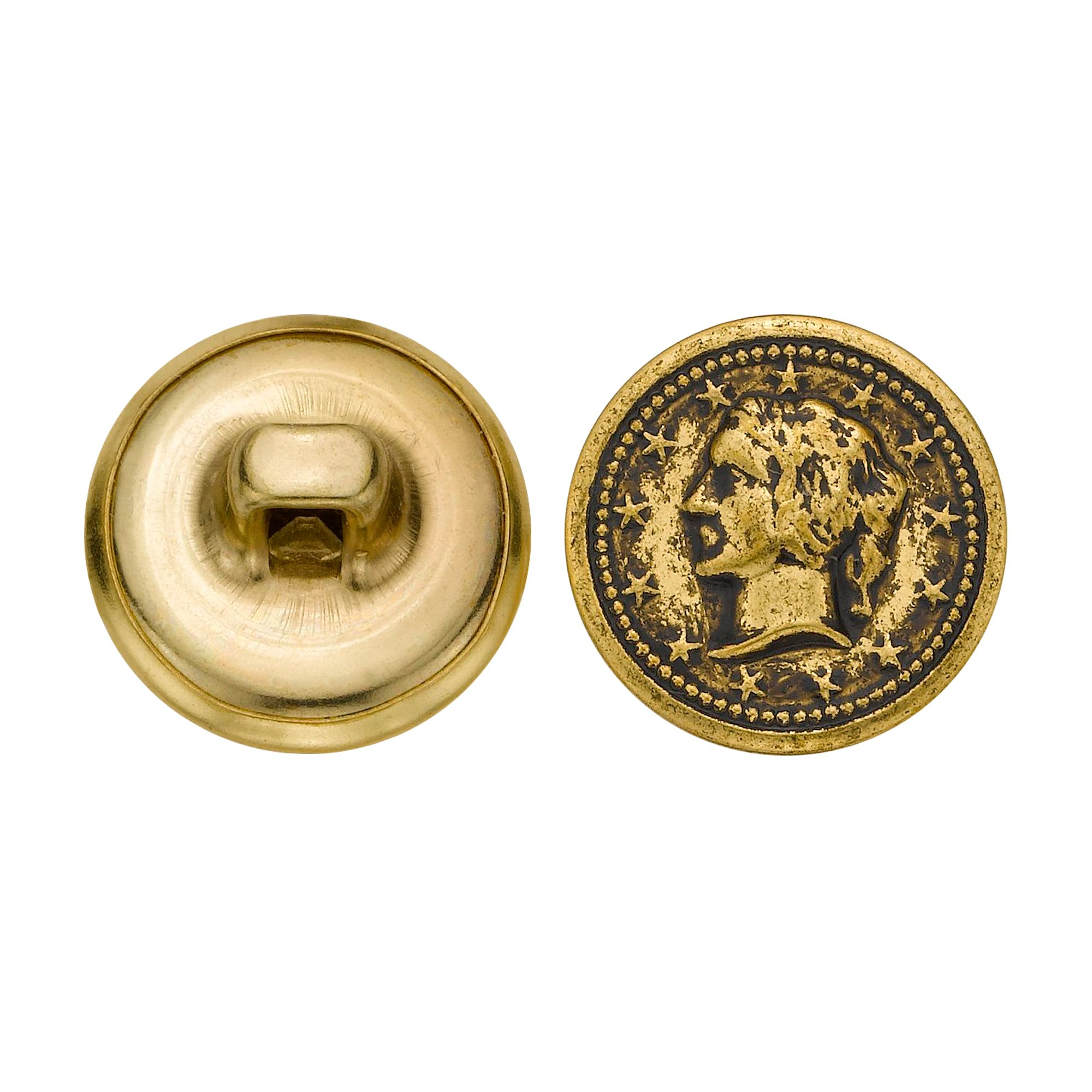 C&C Metal Products 5328 Lady Head Coin Metal Button, Size 24 Ligne, Antique Gold, 72-Pack