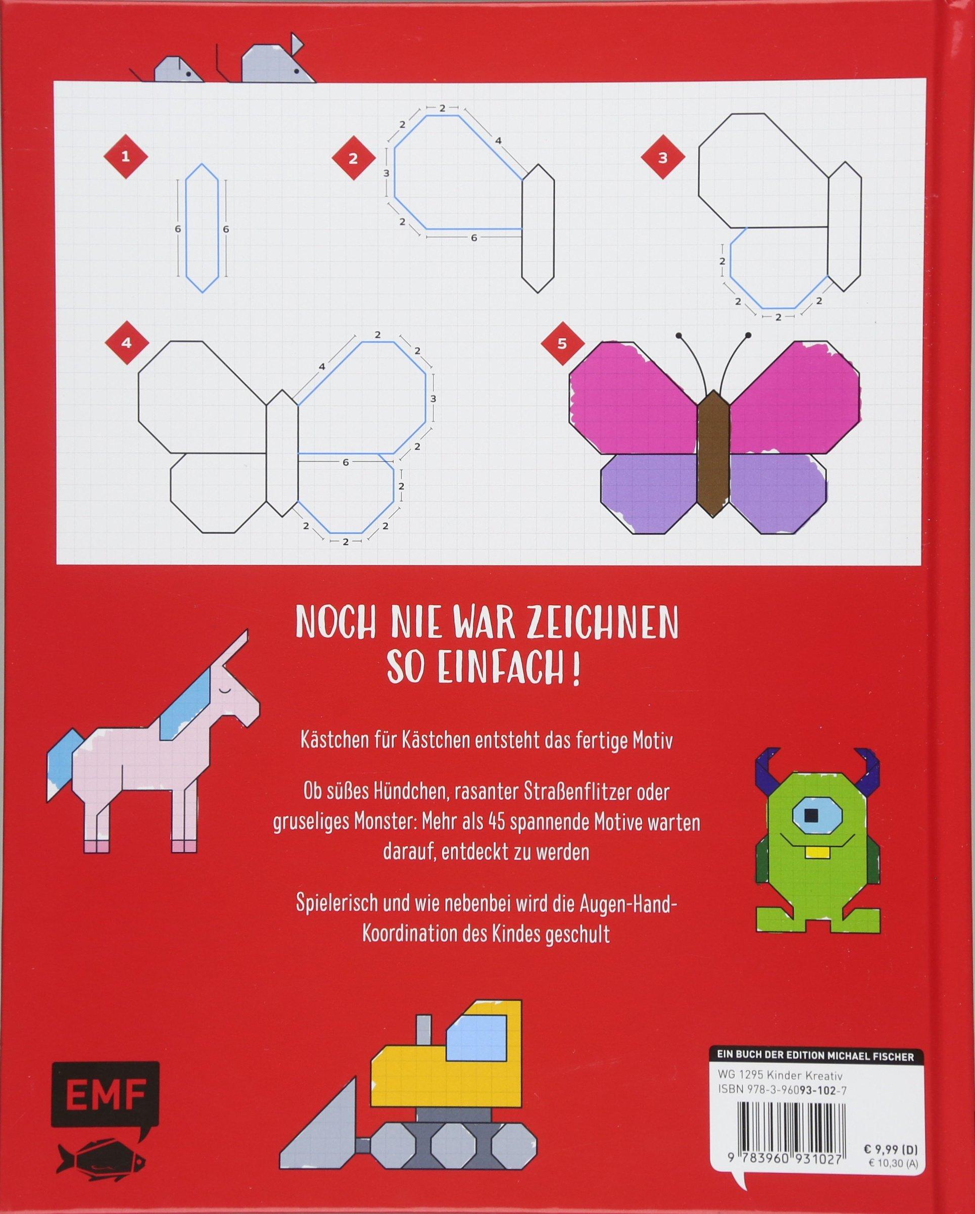Zeichenspaß auf Karopapier Kästchen für Kästchen zeichnen und ausmalen Laleloo Malbücher für Kinder