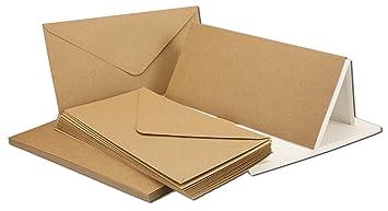 Kraftpapier Karten Inklusive Briefumschläge Einlegeblätter 75er