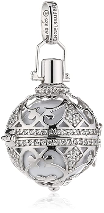 Engelsrufer Classic Pendant for Ladies L 925 Sterling Silver studded with 121 White Zirconia with White Chime mKyW7wOKki
