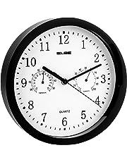 Elbe - Reloj de Pared con termómetro y higrómetro