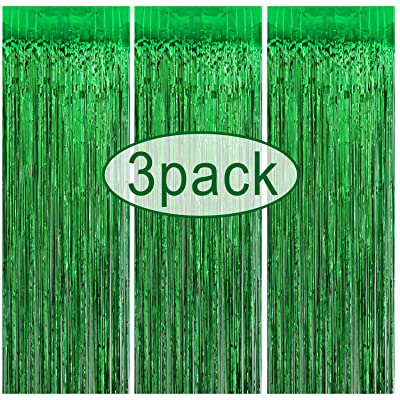 3 Pack Tinsel Curtain | Metallic Foil Fringe Curtain | 3.2 ft x 8.3 ft Green Shimmer Tinsel Curtain Backdrop | St. Patrick's Day Decorations | Irish Party Backdrop Decor | Christmas New Year Decor: Toys & Games