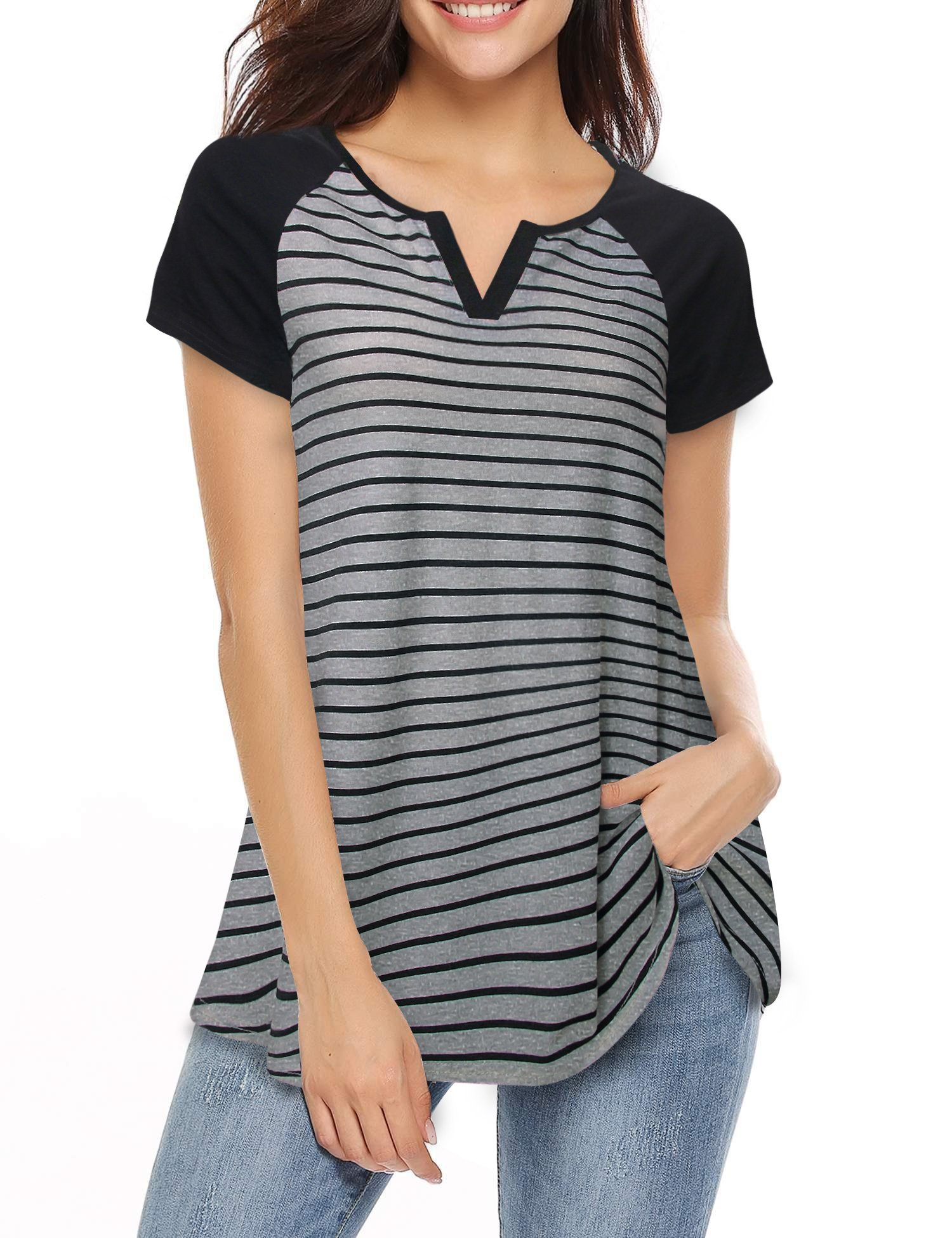 Vafoly Summer Shirts for Women, Juniors Raglan Shirt Fashion Plus Size Notch V Neck Short Sleeve Striped Relaxed Fit Tunic for Leggings Black and Grey,M