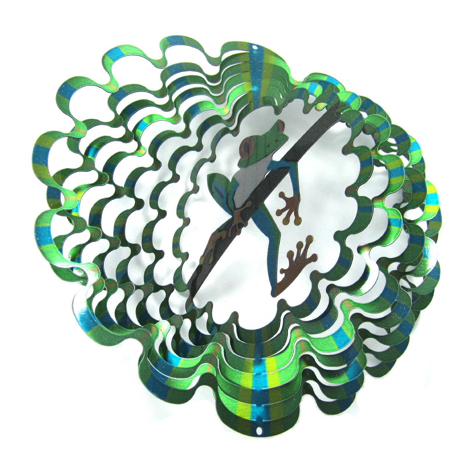 WorldaWhirl Whirligig 3D Wind Spinner Hand Painted Stainless Steel Twister Frog (12'' Inch, Multi Color)
