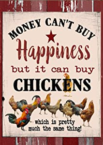 Flags Galore Decor & More Money Can't Buy Happiness But it Can Buy Chickens Garden Flag G 1362