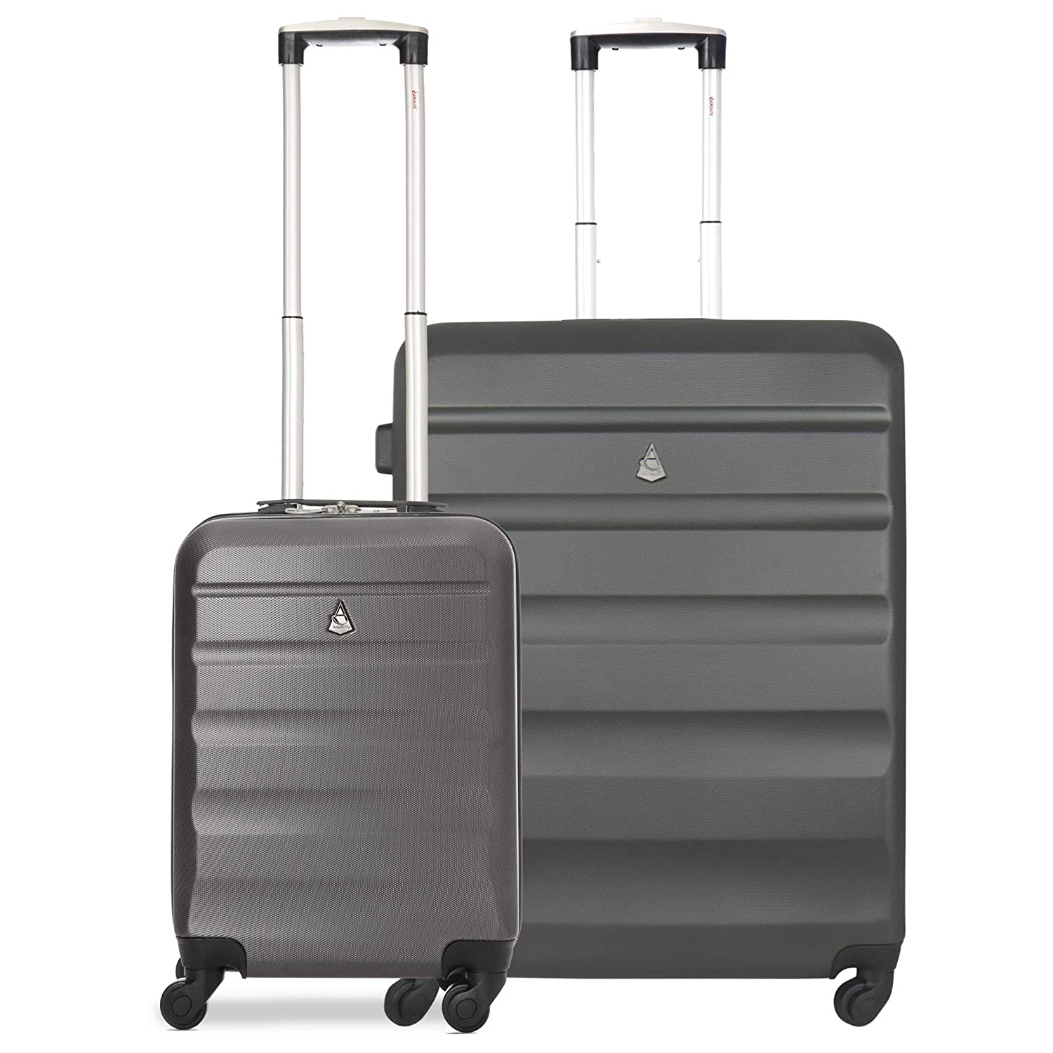 d3f6c3ed8 ... Lightweight Hard Shell 4 Wheel Travel 21in 55cm Hand Cabin Plus 25in  Medium Hold Checked Check in 2 Piece Luggage Suitcase Set Charcoal: Amazon. co.uk: ...