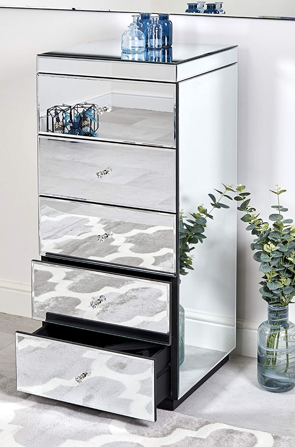 Abreo Venetian Mirrored Tallboy Chest of 5 Drawers