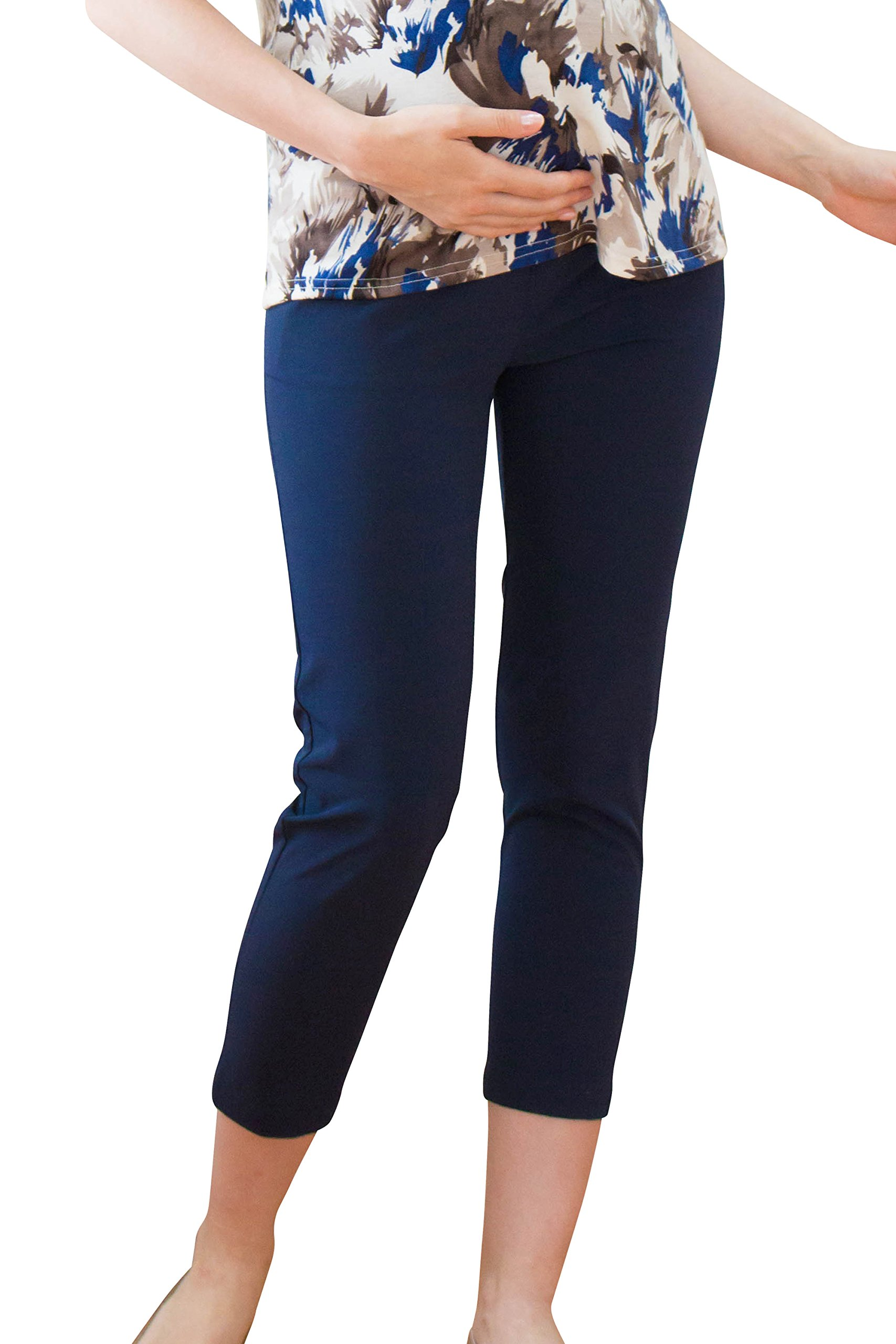 Sweet Mommy Maternity Rayon Tapered Pants Navy, M