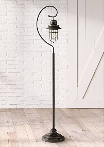 Ulysses Industrial Lantern Floor Lamp Oil Rubbed Bronze Metal Cage Dimmable LED Antique Edison Bulb