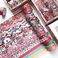 Doraking 12Rolls Japanese Style Decorative Red Flowers Washi Masking Tapes Set for Scrapbooking Gift Wrapping Decoration…