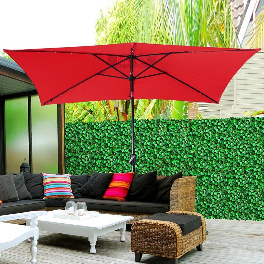 Yescom 10' x 6.5' Rectangle Aluminum Solar Powered Patio Umbrella w/ 20 LEDs Crank Tilt Poolside Garden (Pack of 2) by Yescom (Image #6)