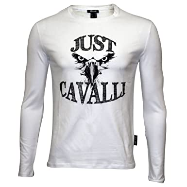 098d5583 Just Cavalli Hawk Silhouette Long-Sleeve Men's T-Shirt, White Large