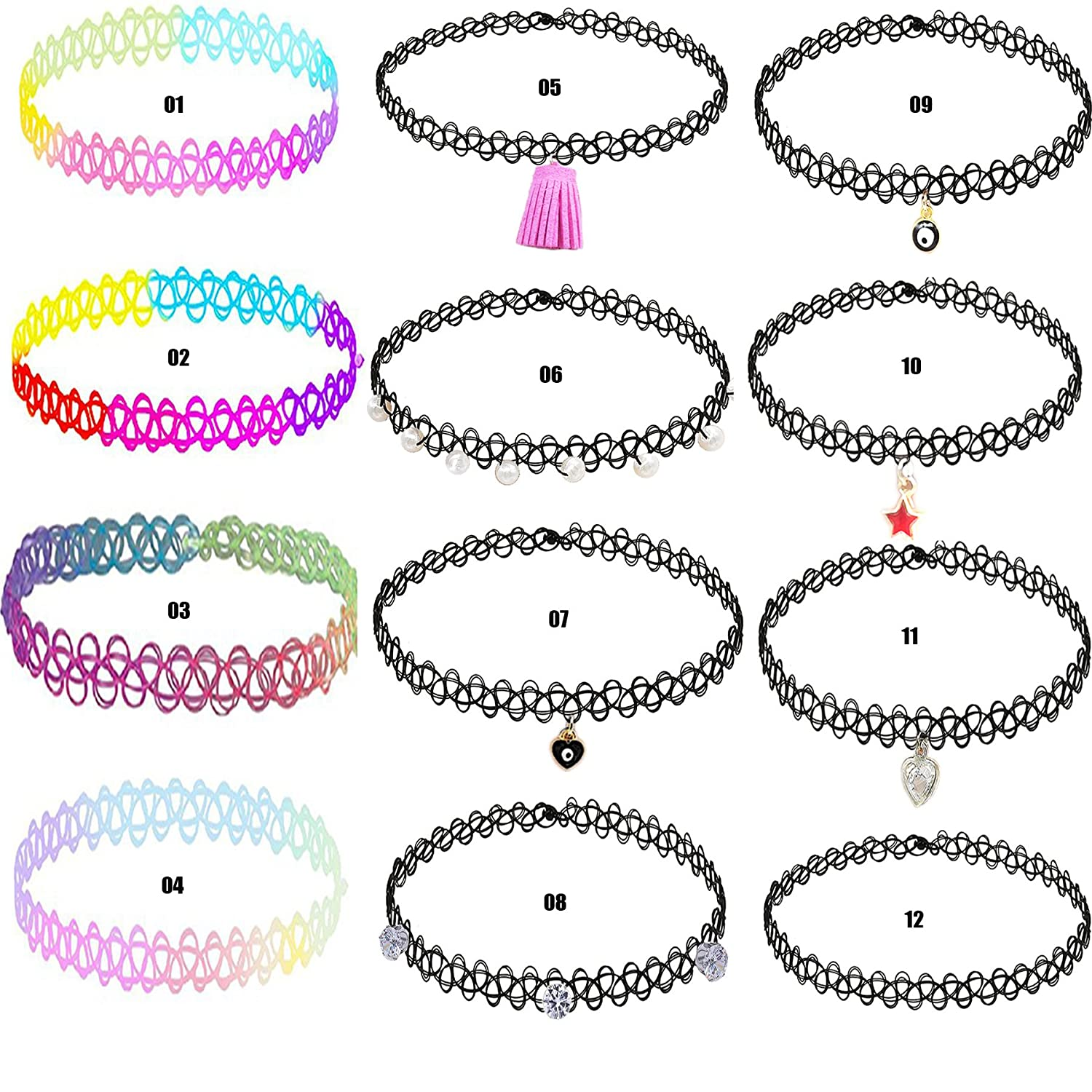 #1 Top Recommendedd Girls Choker-12 PCS Handmade Fashion Classical Girls or babies Gothic Tattoo Charm Choker Necklace Set K&Q Jewelry