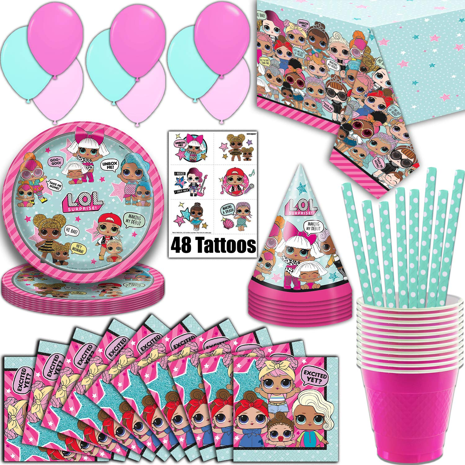 LOL Suprise Party Supplies, Serves 16 - Plates, Napkins, Tablecloth, Cups, Straws, Balloons, Tattoos, Birthday Hats - Full Tableware, Decorations, Favors for L.O.L Collectors by HeroFiber (Image #6)