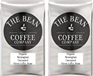 The Bean Coffee Company Organic Unroasted Green Coffee Beans, Nicaraguan, 16-Ounce Bags (Pack of 2)