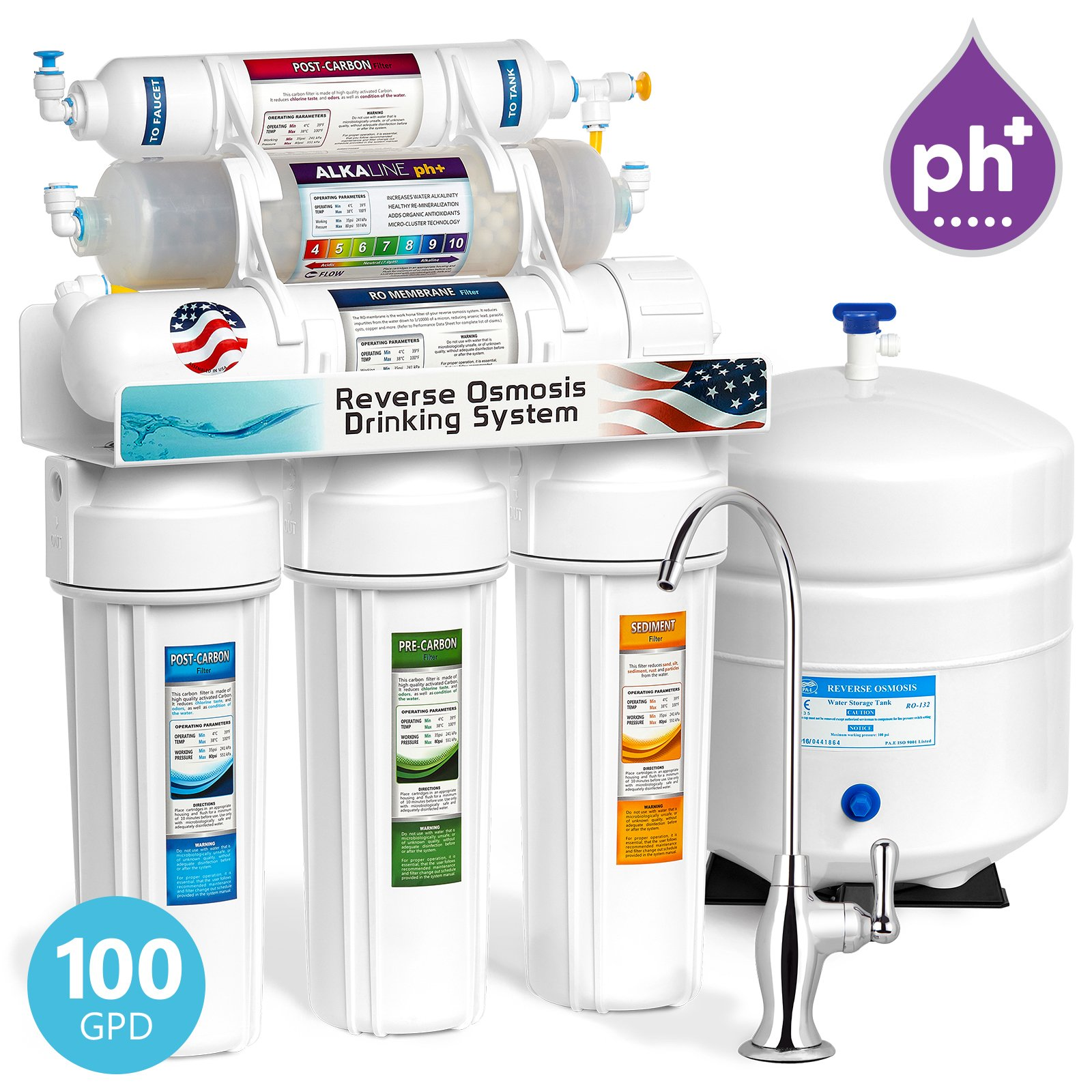 Express Water 10 Stage Home Drinking Water Filtration System Alkaline Mineral Antioxidant + Reverse Osmosis 100 GPD RO Membrane Deluxe Chrome Faucet Residential Under Sink Water Purification ROALK10D