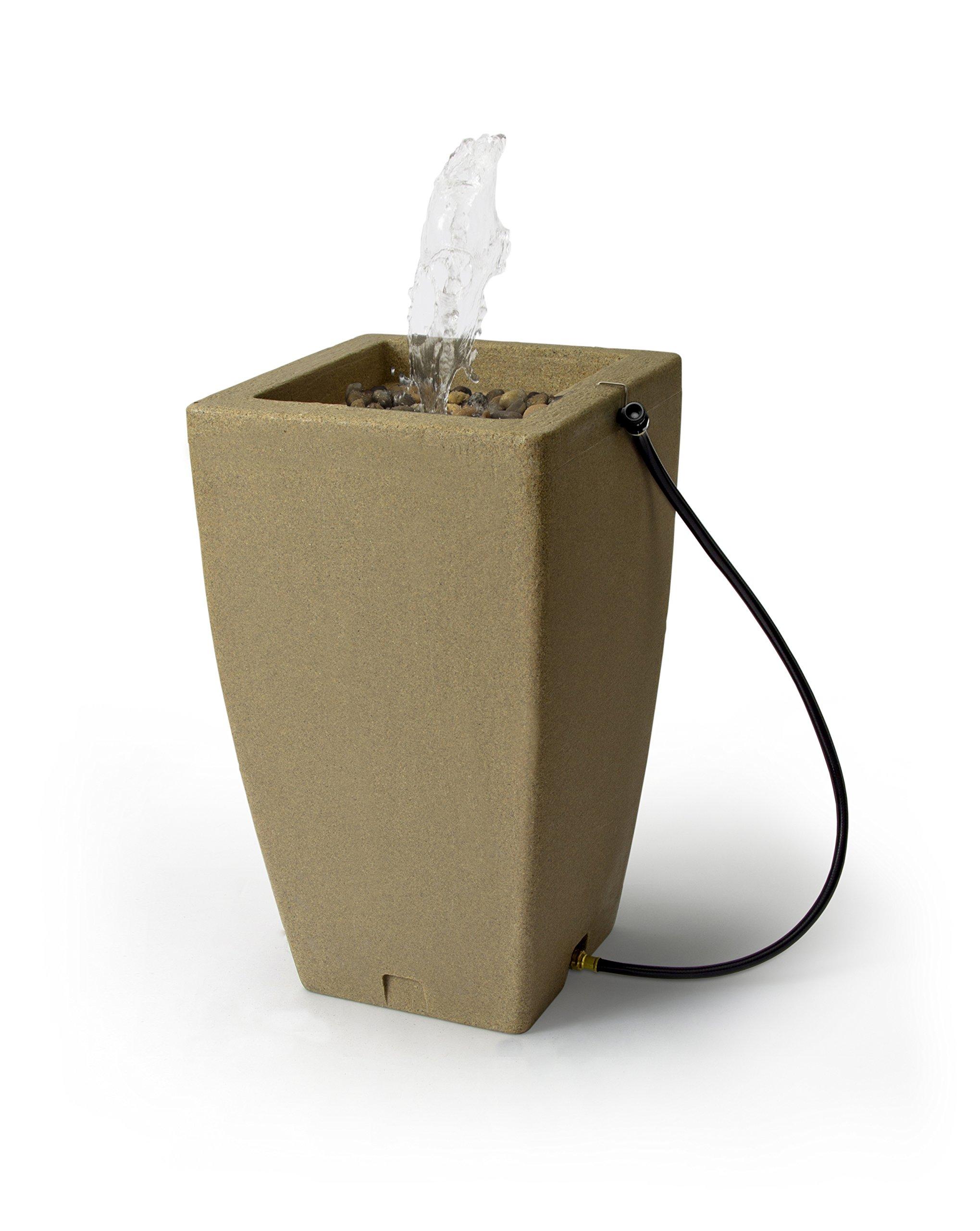 Algreen Products Madison Rain Barrel Fountain 49-Gallon, Sandstone