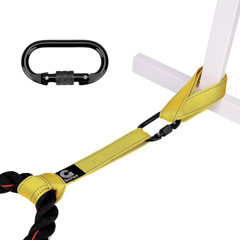 Gonex Ancla de Cuerda de Batalla Battle Rope Anchor Strap Kit para Entrenamiento de Deportes al Aire Libre Crossfit Negro/Amarillo