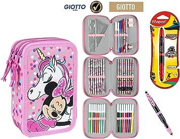 Cerdà Plumier Estuche Artesanía Premium de Cremallera Triple 3 Pisos Minnie Unicornio- 43 Piezas Contenido Giotto + Regalo: Amazon.es: Juguetes y juegos