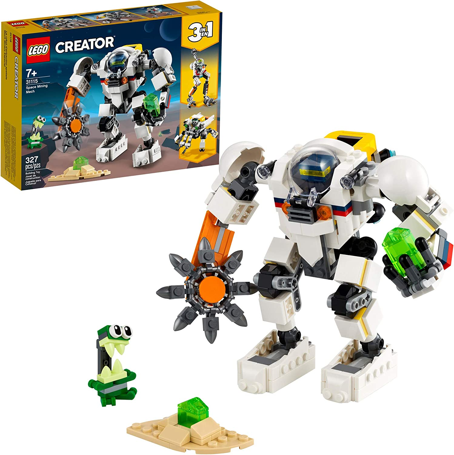 LEGO Creator 3in1 Space Mining Mech 31115 Building Kit Featuring a Mech Toy, Robot Toy and Alien Figure; Makes The Best Toy for Kids Who Love Creative Fun, New 2021 (327 Pieces)