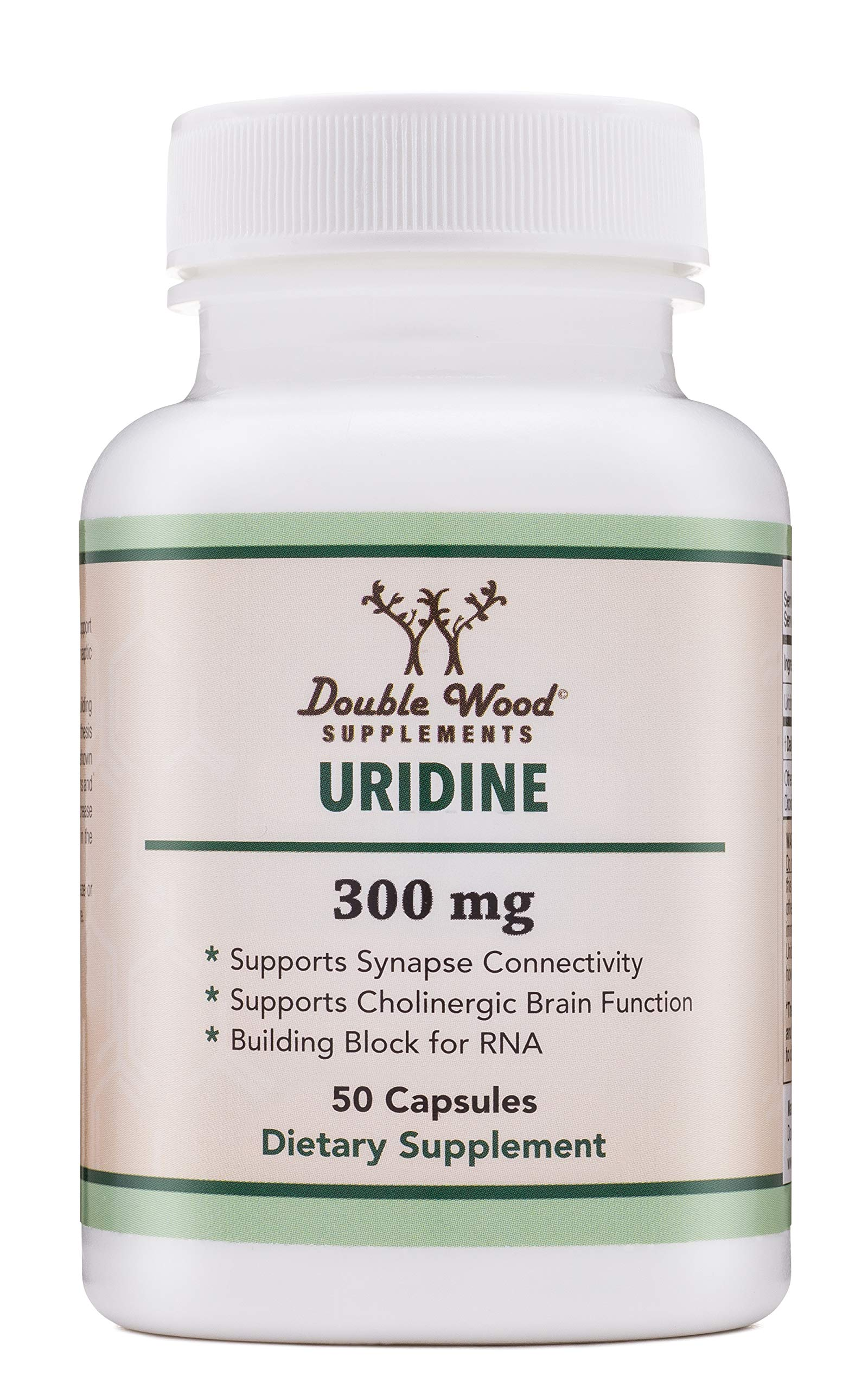 Uridine Monophosphate - Third Party Tested (Choline Enhancer, Beginner Nootropic) 300mg - 50 Capsules, Made in USA by Double Wood Supplements by Double Wood Supplements (Image #1)