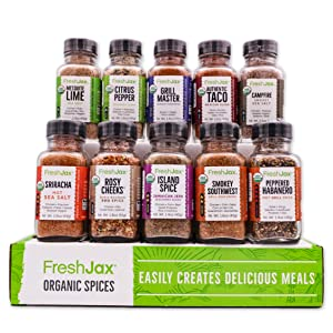 FreshJax Premium Organic Gourmet Spice Gift Set, Meat Steak Lover Seasonings Sampler (Meat 10 Spice Gift Set)