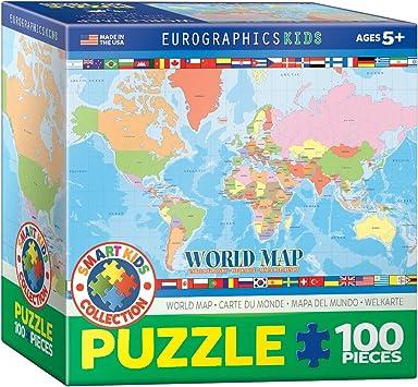 Puzzle 100 Piezas Euro Gráficos - Mapa del Mundo para Niños (Caja de 6x6) - (EG81001271): Amazon.es: Juguetes y juegos