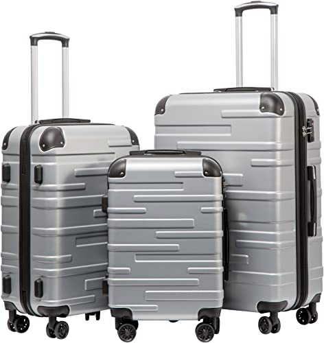 Coolife Luggage Expandable only 28 Suitcase 3 Piece Set with TSA Lock Spinner 20in24in28in sliver